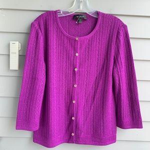 ST.JOHN Mixed Pointelle Knit Cardigan Sweater